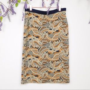 Sparrow Yellow & Blue Knit Pencil Skirt